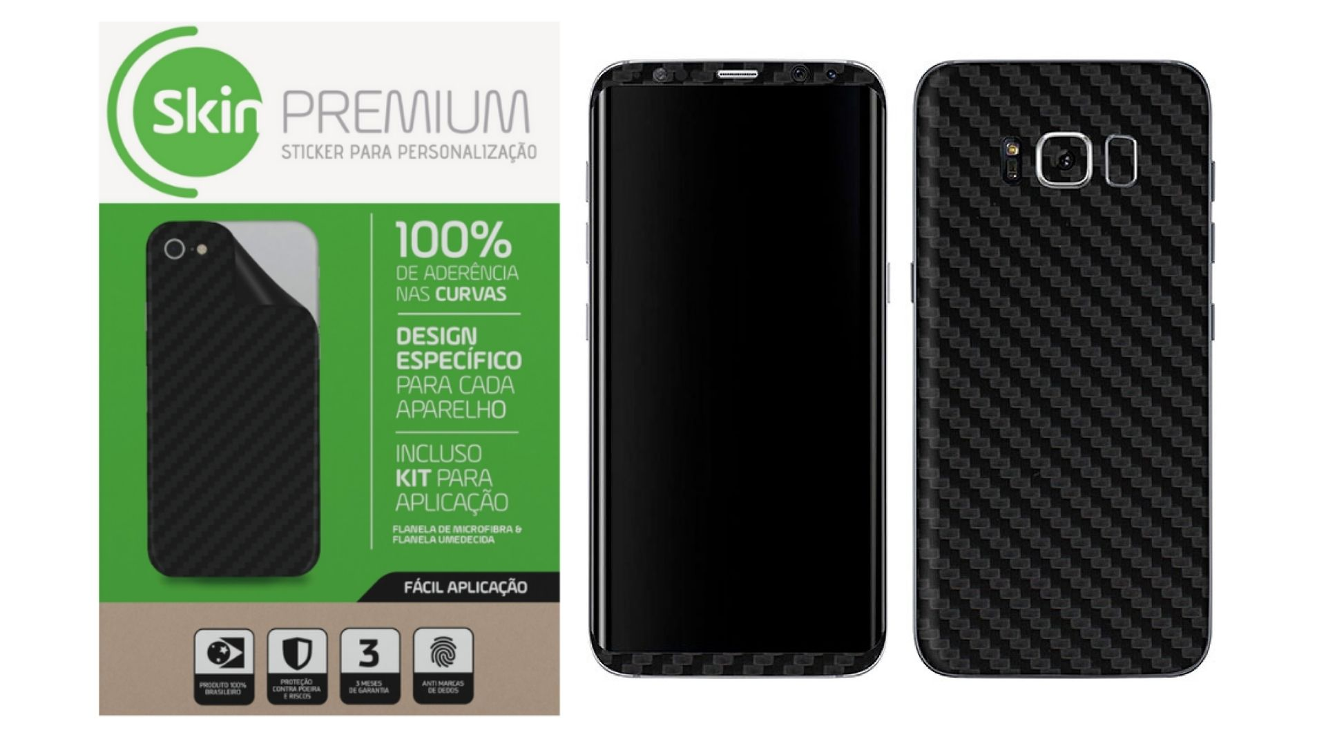 Skin Premium Fibra de Carbono Verso e Laterais para Samsung Galaxy S8