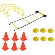 Kit Funcional Escada de Agilidade + 3 Barreiras + 6 Cones + 6 Chapéu Chinês