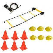 Kit Funcional Escada de Agilidade + Speed Rope + 6 Cones + 6 Half Cone Chapéu Chinês