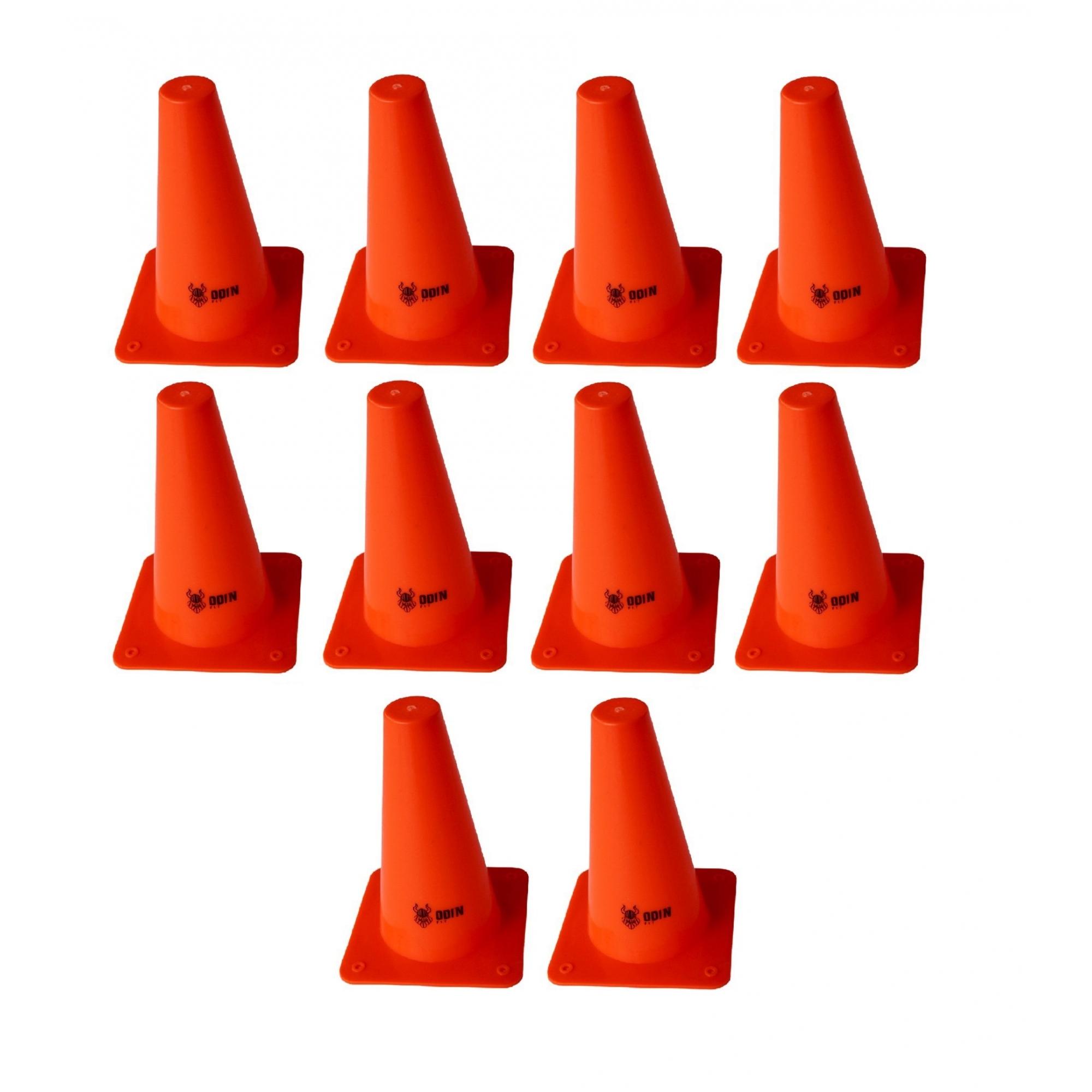 Kit 10 Cones Pequenos 15cm Laranja - Odin Fit