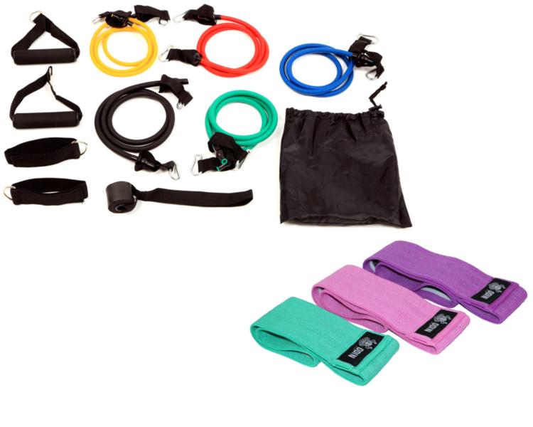 Kit Elásticos Extensores 11 Peças + Kit 3 Faixas Elásticas de Exercício Hip Band - Odin Fit