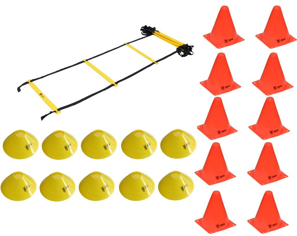 Kit Treinamento Funcional com Escada de Agilidade + Cones + Chapéu Chinês - ODIN FIT