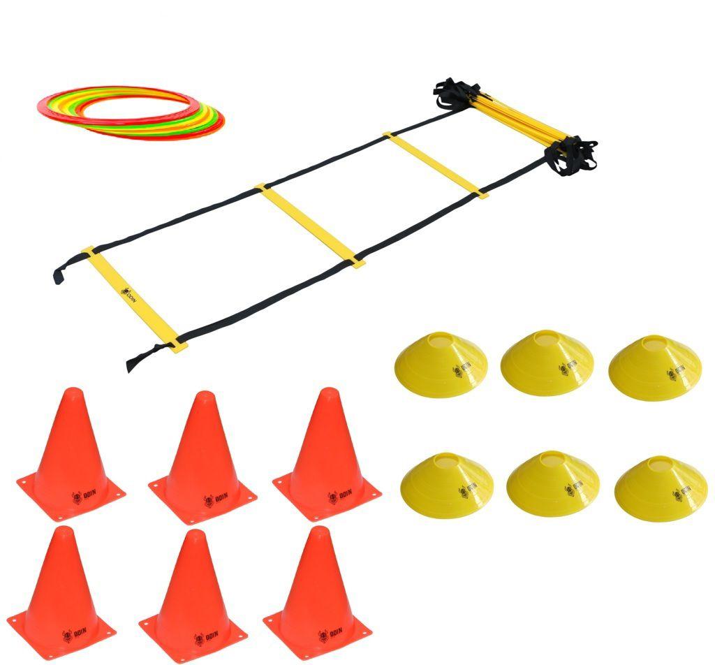 Kit Treinamento Funcional Escada de Agilidade 12 Argolas de Agilidade 6 Cones 6 Chapéu Chinês