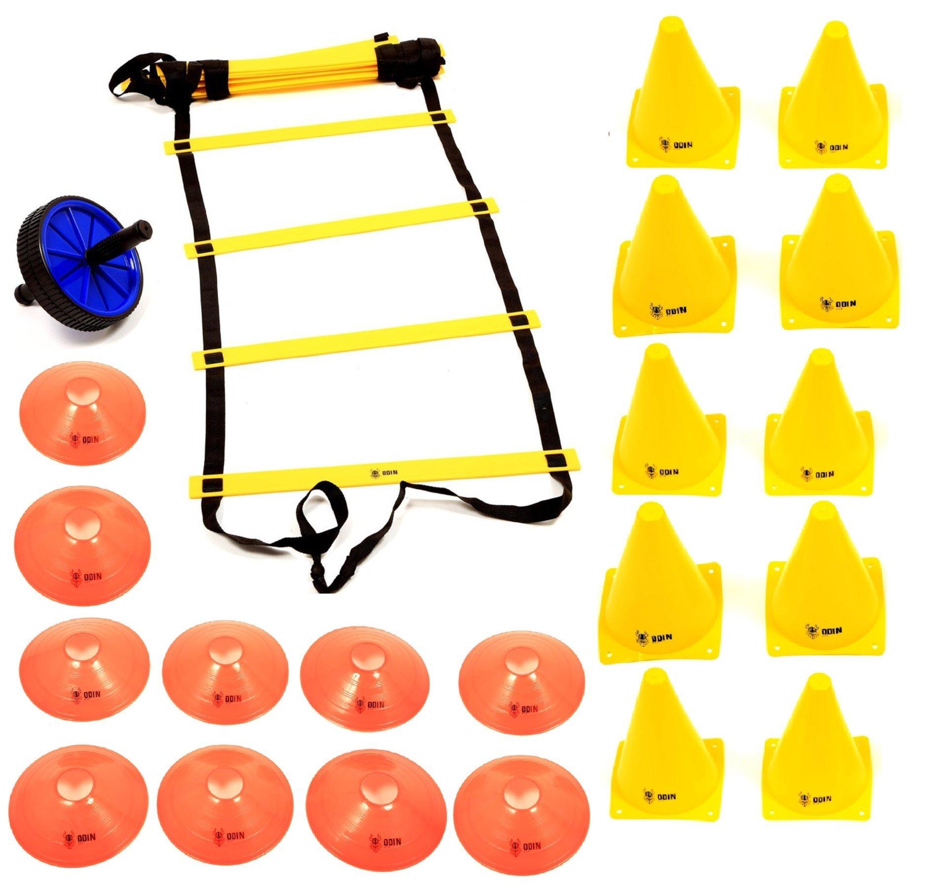 Kit Escada de Agilidade + Roda Abdominal + 10 Cones + 10 Chapéu Chinês Half Cone