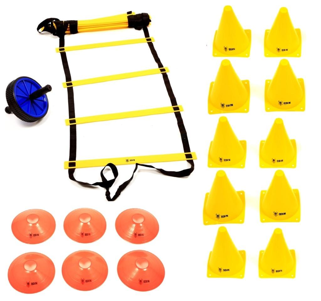 Kit Escada de Agilidade + Roda Abdominal + 10 Cones + 6 Chapéu Chinês Half Cone
