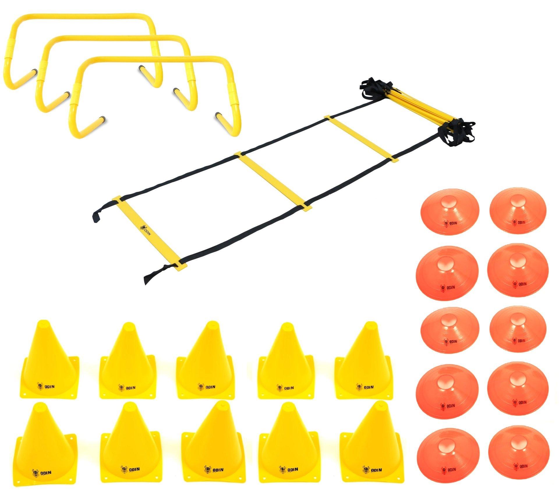 Kit Funcional Escada de Agilidade + 3 Barreiras + 10 Cones + 10 Chapéu Chinês