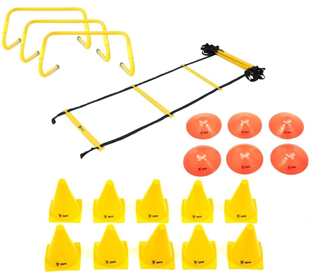 Kit Funcional Escada de Agilidade + 3 Barreiras + 10 Cones + 6 Chapéu Chinês