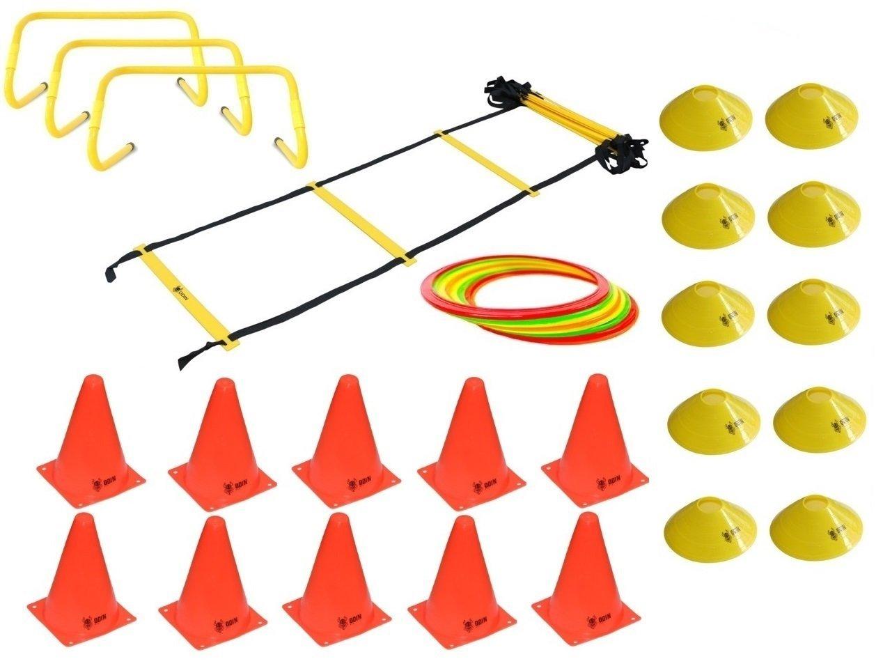 Kit Funcional Escada de Agilidade + 3 Barreiras + 12 Argolas de Agiliade + 10 Cones + 10 Chapéu Chinês