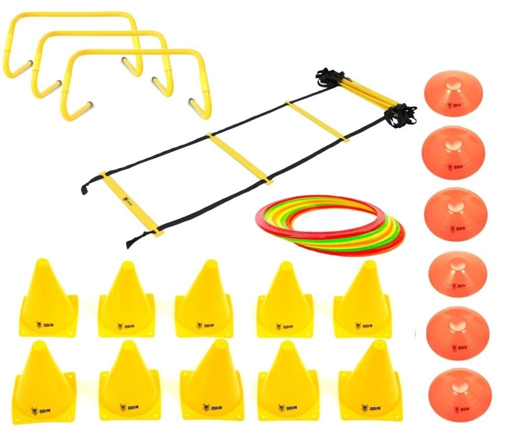 Kit Funcional Escada de Agilidade + 3 Barreiras + 12 Argolas de Agiliade + 10 Cones + 6 Chapéu Chinês
