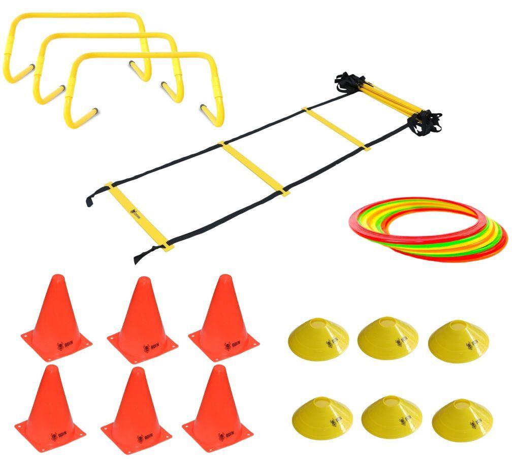 Kit Funcional Escada de Agilidade + 3 Barreiras + 8 Argolas de Agiliade + 6 Cones + 6 Chapéu Chinês