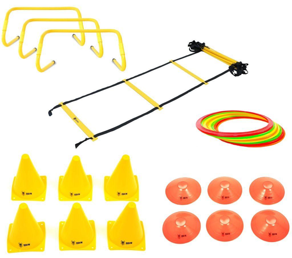 Kit Funcional Escada de Agilidade + 3 Barreiras + 12 Argolas de Agiliade + 6 Cones + 6 Chapéu Chinês