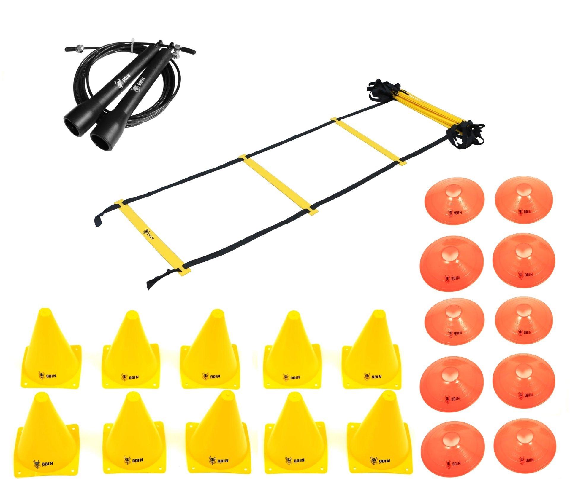 Kit Funcional Escada de Agilidade + Speed Rope + 10 Cones + 10 Half Cone Chapéu Chinês