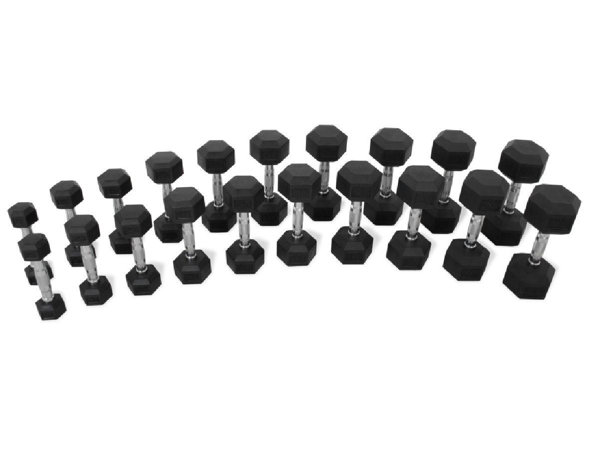 Kit Halteres Dumbbell Sextavado Hexagonal Borracha 1 A 10kg