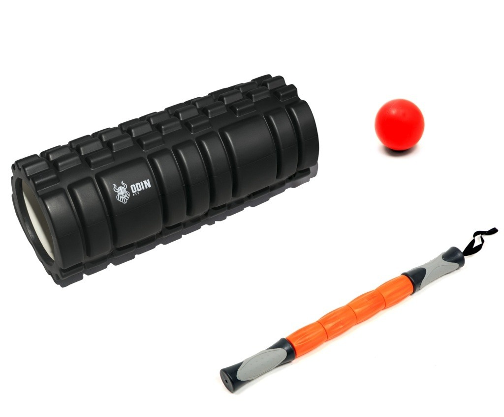 Kit Rolo Texturizado, Bastão de Massagem e Lacrosse Ball Liberação Miofascial - Odin Fit