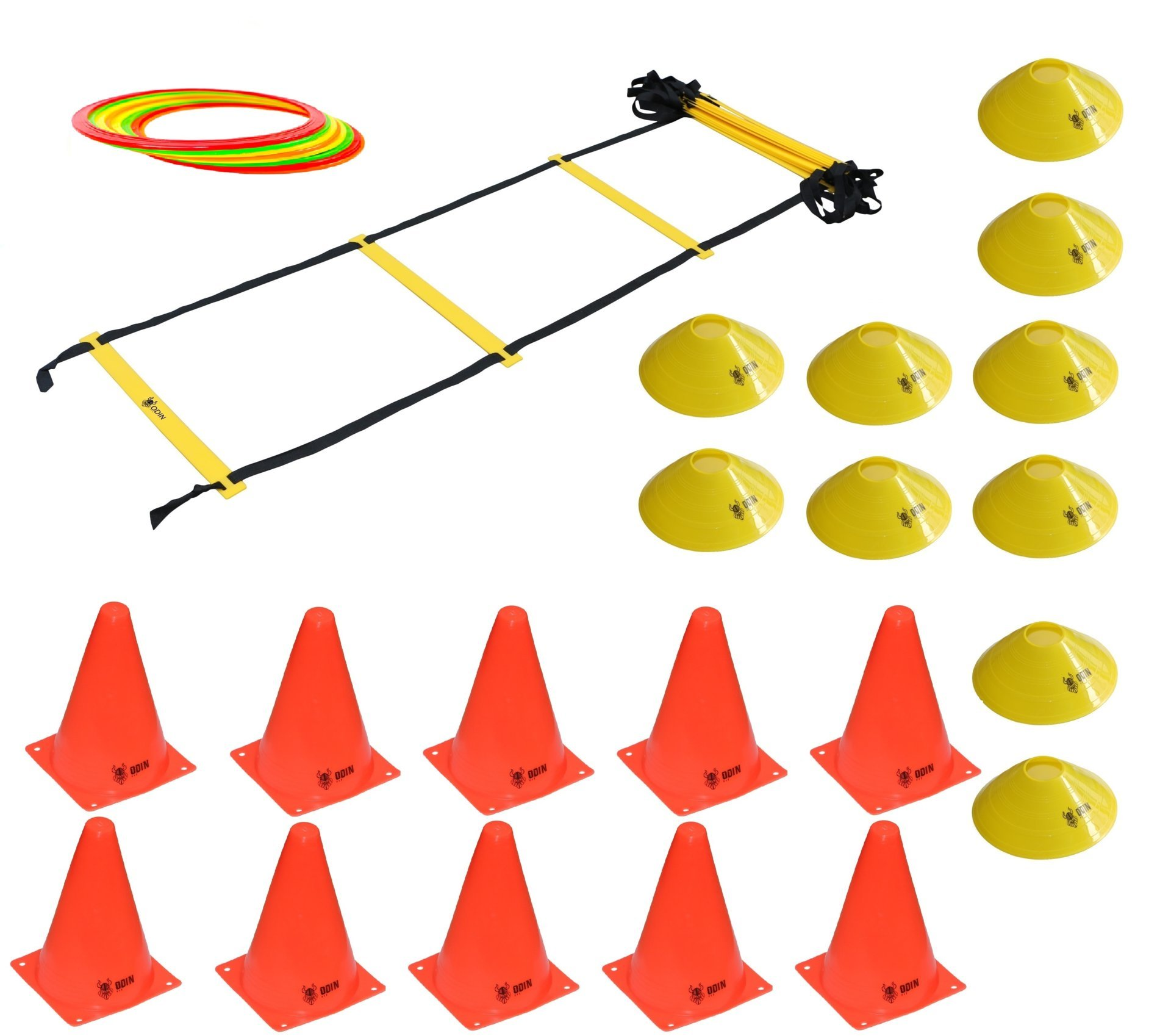 Kit Treinamento Funcional Escada de Agilidade 12 Argolas de Agilidade 10 Cones 10 Chapéu Chinês