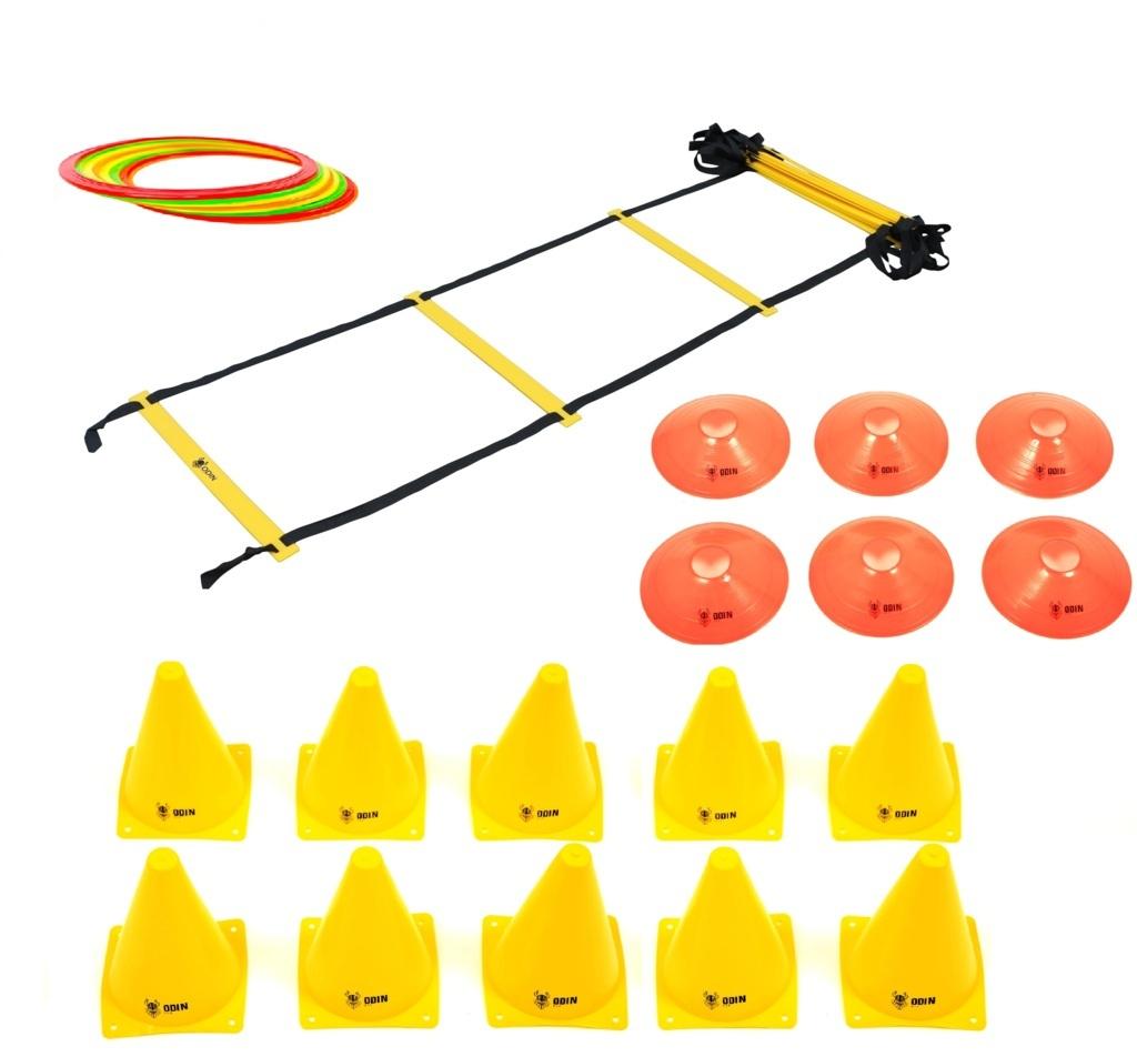 Kit Treinamento Funcional Escada de Agilidade 12 Argolas de Agilidade 10 Cones 6 Chapéu Chinês