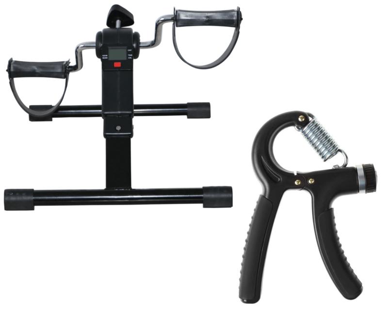 Mini Bike Ergométrica Com Monitor LCD + Handgrip Ajustável Fortalecedor de Pegada Preto - Odin Fit