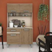 Armário Compacto para Cozinha 4 portas 1 gaveta Kit Briz B109 - Fendi/Rústico