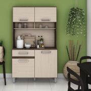 Armário Compacto para Cozinha 4 portas 1 gaveta Kit Briz B109 - Moka/Fendi