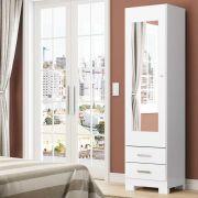 Sapateira com Espelho 1 Porta 2 Gavetas Henn Leon - Branco