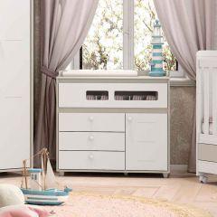 Cômoda Infantil 4 Gavetas 1 Porta Aquarela Henn - Cristal/Branco