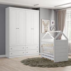 Conjunto Berço Montessoriano com Guarda-roupa Infantil Americano Henn - Branco HP Fosco