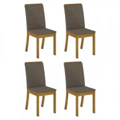 Conjunto com 4 Cadeiras Dina para Sala de Jantar Henn - Nature/Bege