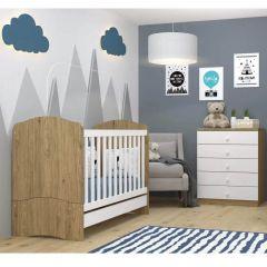Conjunto com Berço Mini-cama e Cômoda 5 Gavetas Bala de Menta Henn - Rústico/Branco