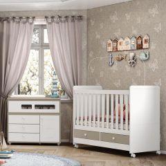 Conjunto com Cômoda e Berço Mini-cama Aquarela Henn - Cristal/Branco
