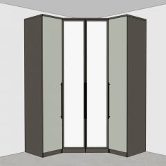 Conjunto Guarda-roupa Canto Closet com Espelho 4 Portas Diamante Henn - Damasco/Areia