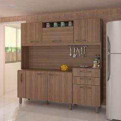Cozinha Compacta Lilian 6 Portas, 2 Gavetas e Porta Condimentos Luciane - Vanilla