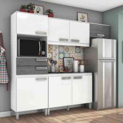 Cozinha Compacta 7 Portas 2 Gavetas Com Balcão Henn Briz B107 - Branco/Gris