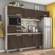 Cozinha Compacta 7 Portas 2 Gavetas Com Balcão Henn Briz B107 - Fendi/Moka