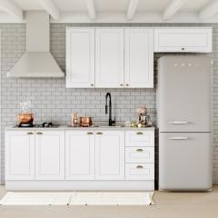 Cozinha Compacta Americana 4 peças Modulada 8 Portas 3 Gavetas Henn - Branco HP Fosco