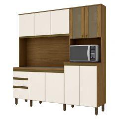 Cozinha Compacta Kitchen 10 Portas 2 Gavetas Briz B118 - Nature/Off White