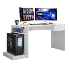 Escrivaninha Mesa de Computador Gamer 1 Gaveta Rubi Mobler - Branco