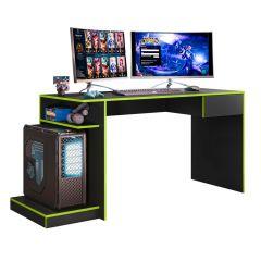Escrivaninha Mesa de Computador Gamer 1 Gaveta Rubi Mobler - Preto/Verde