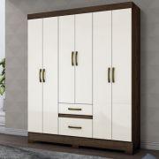 Guarda-roupa 6 portas 2 gavetas Briz B22 - Café/Off White