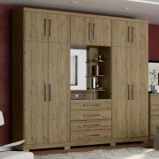 Guarda-roupa Casal 10 Portas 4 Gavetas com Espelho Henn Viena - Rústico