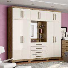 Guarda-roupa Casal 10 Portas 4 Gavetas com Espelho Henn Viena - Rústico/Off White