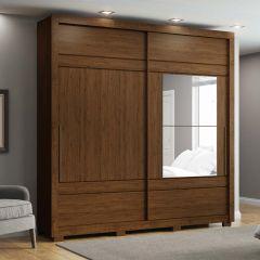 Guarda-roupa Casal com Espelho 2 Portas de Correr Delicato Henn - Castanho HP