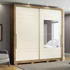 Guarda-roupa Casal com Espelho 2 Portas de Correr Delicato Henn - Rústico/Off White