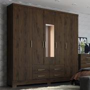 Guarda-roupa Casal com Espelho 5 Portas 4 Gavetas Henn Alba - Café