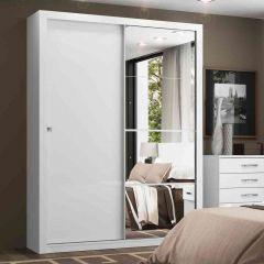 Guarda-roupa com Espelho 2 Portas de Correr Henn Alegro - Branco