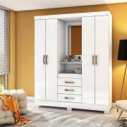 Guarda-roupa com Espelho 4 portas 3 gavetas Briz B24 - Flex Color Branco/Rosa