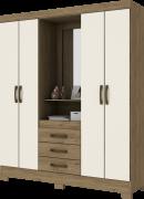 Guarda-roupa com Espelho 4 portas 3 gavetas Briz B24 - Rústico/Off White
