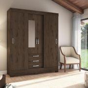 Guarda-roupa com Espelho 4 Portas 3 Gavetas Briz B61 - Flex Café/Branco