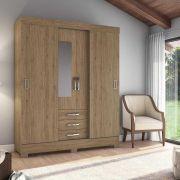 Guarda-roupa com Espelho 4 Portas 3 Gavetas Briz B61 - Flex Rústico/Fendi