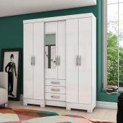 Guarda-roupa com Espelho 6 portas 3 gavetas Briz B23 - Branco