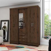 Guarda-roupa com Espelho 6 portas 3 gavetas Briz B23 - Café
